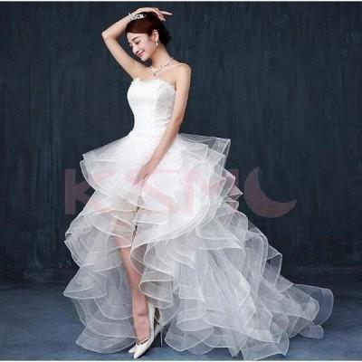 ウェディングドレス 結婚式 花嫁  プリンセスドレス  白ドレス  ロングドレス  披露宴  編み上げ トレーン 引き裾