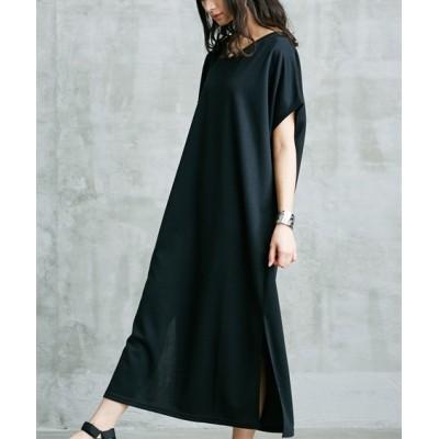 ポンチ素材ルーズシルエットVネックマキシ丈ワンピース (ワンピース)Dress