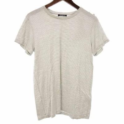 バルマン/BALMAIN 肩 メタル ボタン ボーダー カットソー Tシャツ 13C21 サイズ メンズXS グレー×ホワイト ランクC 102  (中古)