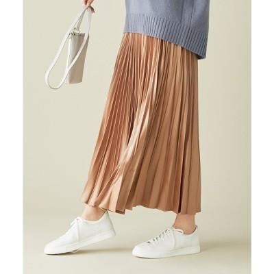 ICB 【マガジン掲載】Gloss Satin スカート(番号CE24) (キャメル系)