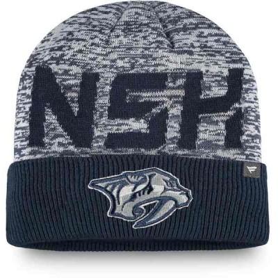 ファナティクス 帽子 アクセサリー メンズ Nashville Predators Fanatics Branded Authentic Pro Team Clutch Cuffed Knit Hat Navy