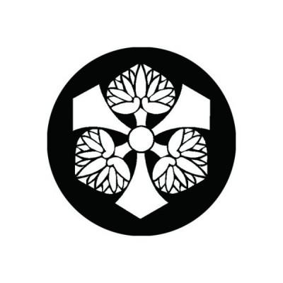 家紋シール 白紋黒地 剣三つ葵 布タイプ 直径23mm 6枚セット NS23-1070W