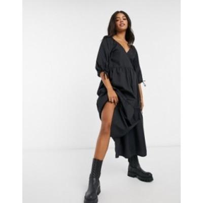 エイソス レディース ワンピース トップス ASOS DESIGN cotton poplin smock wrap midi dress in black Black