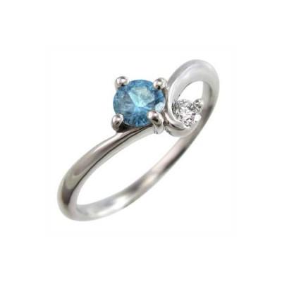k10ホワイトゴールド リング ブルートパーズ 天然ダイヤモンド 11月誕生石