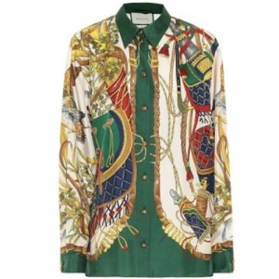 グッチ Gucci レディース ブラウス・シャツ トップス Printed silk shirt Rose Beige/Green Prt