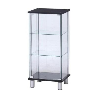不二貿易 ガラスコレクションケース3段 脚付(背面ミラー) 型番:TMG-G02-1 BK 色:BLACK