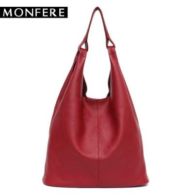 MONFRER 大革ショルダーバッグ 女性ヴィンテージソフト牛革スキンハンドバッグバケット 高品質ショルダーバッグ ライナーバッグ