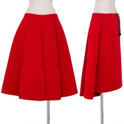 トリコ コムデギャルソンtricot COMME des GARCONS プリーツ切替ナイロンボンディングスカート 赤M 【レディース】