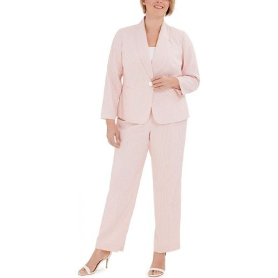 ル スーツ Le Suit レディース スーツ・ジャケット 大きいサイズ アウター Plus Size Striped One-Button Jacket and Pant Suit Apricot Orange/white