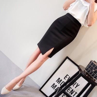 膝丈スカート スーツ 無地 タイトスカート  スリット入り 着痩せ ハイウエスト 女性用 大きいサイズS-3XL インナーパンツ付き 通勤OL オフィス 結婚式 二次会