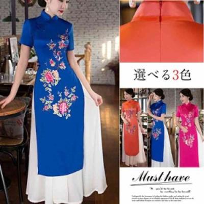 チャイナドレス ロング チャイナドレス コスプレ チャイナドレス 大きいサイズ ドレス 結婚式 お呼ばれ チャイナ風 ワンピース