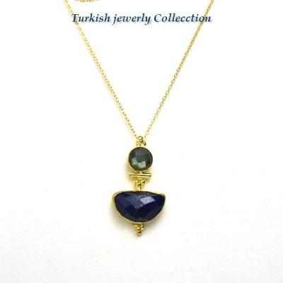 ターキッシュラピスラズリネックレス5/ラピスラズリ&ラブラトライト 12月誕生石 パワーストーン 天然石