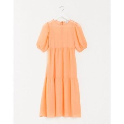 ウェアハウス Warehouse レディース ワンピース ティアードドレス ワンピース・ドレス chiffon tiered maxi dress in orange