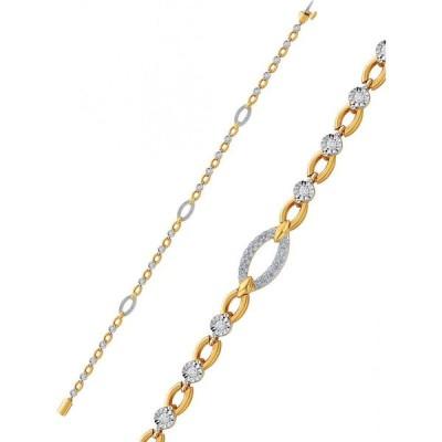 メイシーズ Macy's ユニセックス ブレスレット Diamond Open Link Bracelet (1/2 ct. t.w.) in Sterling Silver & 14k Gold-Plate