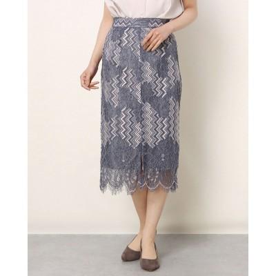 トゥエルブアジェンダ 12Twelve Agenda スカラップ配色レースタイトスカート (ブルー)