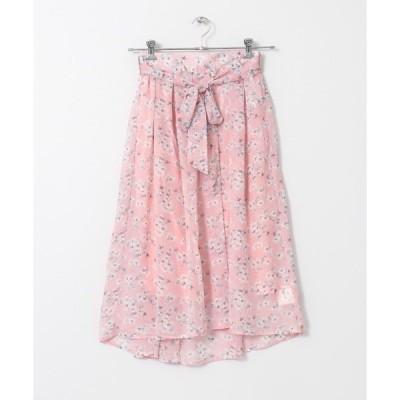 スカート 花柄リボンロングスカート(ペチ付)∴
