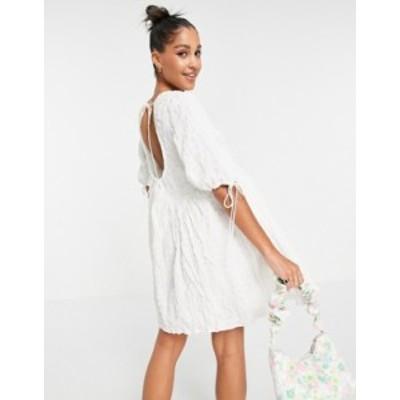 エイソス レディース ワンピース トップス ASOS DESIGN textured cut out back detail mini smock dress with ties in white White