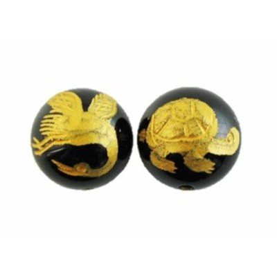 鶴亀 オニキス手彫り玉(金入り) 12mm 一粒売り 手作りにオススメ! 天然石 パワーストーン