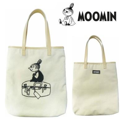 ムーミン MOOMIN トートバッグ 手提げ 持ち手レザー リトルミイ 帆布 刺繍 おしゃれ かわいい プレゼント 人気 キャラクター グッズ