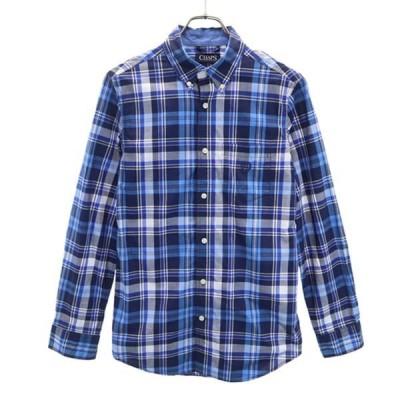 チャップス チェック柄 長袖 ボタンダウンシャツ M 青系 CHAPS メンズ 古着 210327 メール便可