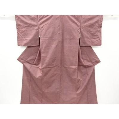 宗sou 変わり横段に花模様織り出し手織り紬着物【リサイクル】【着】