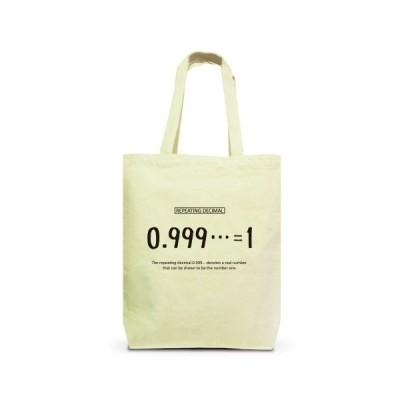 数学Tシャツ:0.999…=1:不思議な式:循環小数_黒:数式:哲学 トートバッグM(ナチュラル)
