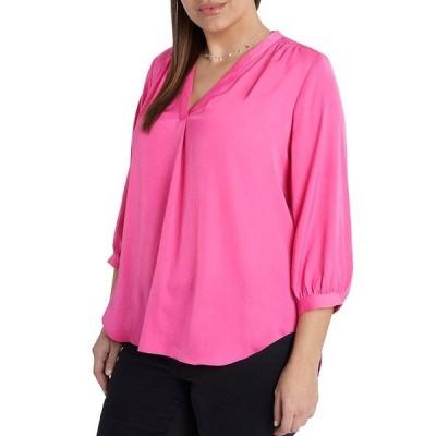 ヴィンスカムート レディース シャツ トップス Plus Size 3/4 Sleeve V-Neck Rumple Blouse Bright Hibiscus