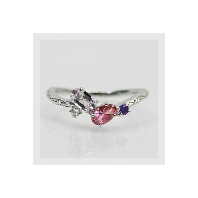 リング 指輪 レディース スタイリッシュカラー モルガナイト ピンクトルマリン アメシストリング 誕生石 2月 10月 春色ピンク