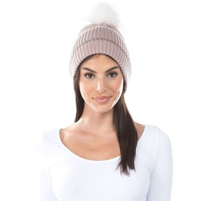 マーカスアドレール 帽子 アクセサリー レディース Women's Lurex Cuff Faux Fur Pom Hat Mauve