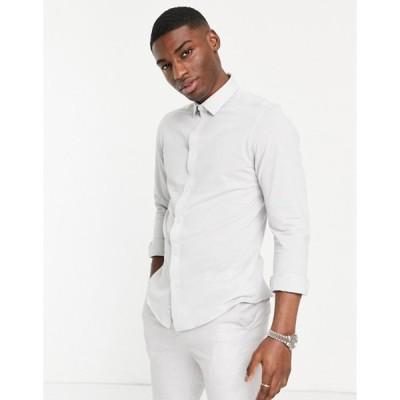 ハリー ブラウン メンズ シャツ トップス Harry Brown pique slim fit shirt in light gray