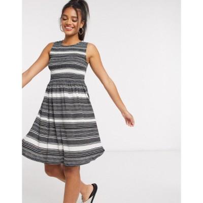 ジェイディーワイ レディース ワンピース トップス JDY mini dress in black and white stripe Multi
