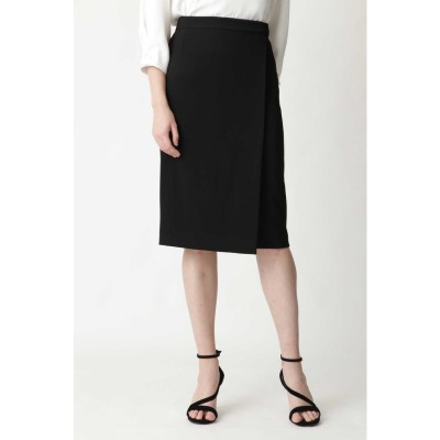 トリアセ綾二重スカート ブラック