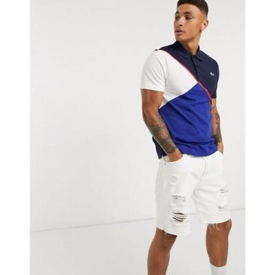 ラコステ Lacoste メンズ ポロシャツ トップス geometric polo shirt in blue ブルー