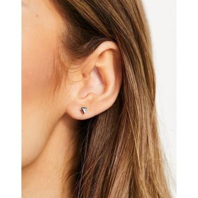 キングスリーライアン レディース ピアス&イヤリング アクセサリー Kingsley Ryan abalone effect triangle stud earrings in sterling silver Silver/abalone