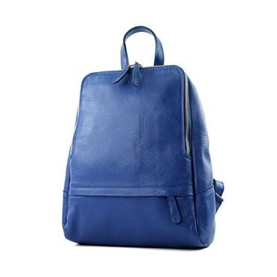 modamoda de - ital. Leather Backpack Ladies Backpack Rucksack Bag Citybag Leather T138, Colour:blue 並行輸入品