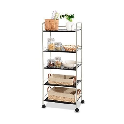Giantex Steel Utility Cart Storage Shelf Rack Mobile Casters Metal Mesh Commercial Kitchen Warehouse Garage Bathroom Capacity Shelving Shelv