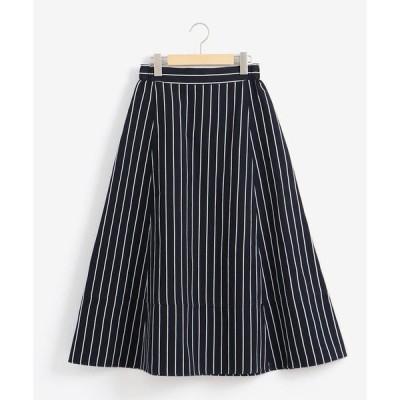 スカート オックス/コットンリネンストライプ Aラインミディ丈スカート