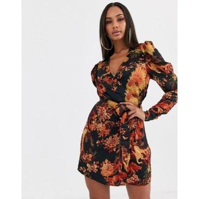 ミスガイデッド レディース ワンピース トップス Missguided wrap dress with puff sleeves in floral print Multi