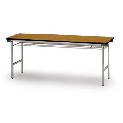 折り畳みテーブル(棚付) スチール脚 幅1500mm×奥行450mm×高さ700mm TF-1545