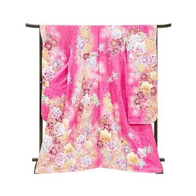 [京都の着物屋かさね] 振袖 仕立て上がり 着物 ピンク色 薔薇 華文 正絹 フォーマル 礼装 絹 仕立て済み f-292