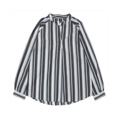 【トーキョーシャツ】 長袖カジュアルシャツ 衿ぐりシャーリングチュニック 白×ブルー系ストライプ レディース ブルー M TOKYO SHIRTS