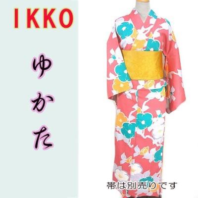 女物夏ゆかたayw17-2b 大人レディース 単品 ブランド浴衣 IKKO 椿カラフル ピンク水色
