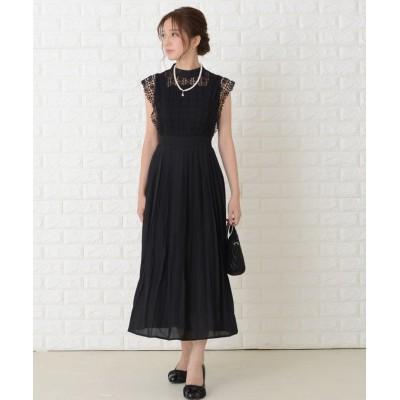 【レースレディース】 ノースリーブプリーツデザインワンピースドレス レディース ブラック XL Lace Ladies