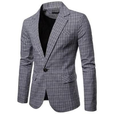 3色 メンズテーラードジャケット ブレザー カジュアルスーツ  ビジネススーツ ジャケット コート お洒落 個性 チェック柄