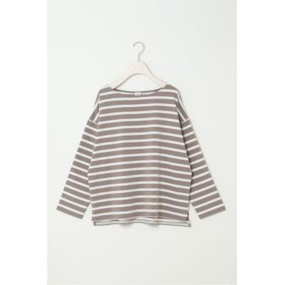 【エルビーシー】 コットンボーダーボックスTシャツ レディース ブラウン M(9ゴウ) LBC
