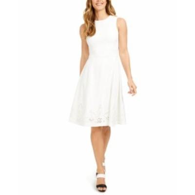 カルバンクライン レディース ワンピース トップス Lace-Hem Fit & Flare Dress Cream