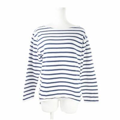 【中古】ルミノア Leminor カットソー バスクシャツ 長袖 ボーダー 3 紺 ネイビー /AH4 ☆ レディース