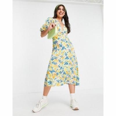 インフルエンス Influence レディース ワンピース ミドル丈 ワンピース・ドレス midi tea dress in yellow floral マルチカラー