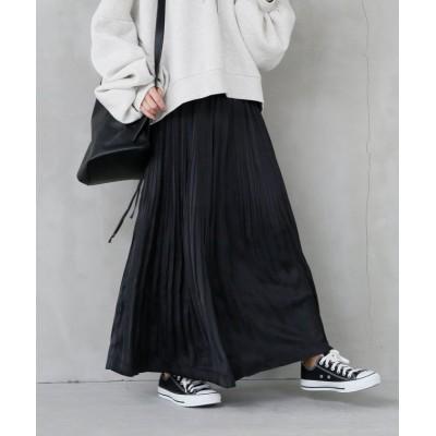 【オシャレウォーカー】 n'Orランダムプリーツサテンスカート レディース ブラック フリーサイズ osharewalker