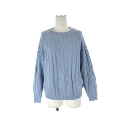 【中古】マンゴ MNG ケーブルニット セーター アルパカ混 ブルー 青 S ●025 レディース 【ベクトル 古着】